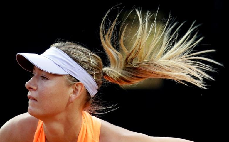 Tennis - WTA - Rome Open - Maria Sharapova of Russia v Mirjana Lucic-Baroni of Croatia - Rome, Italy - 16/5/17- Sharapova serves the ball. REUTERS/Max Rossi