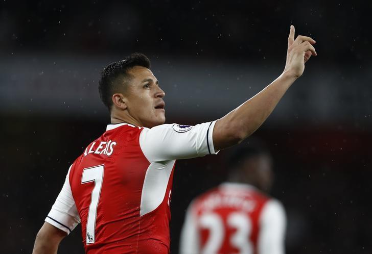 Britain Football Soccer - Arsenal v Sunderland - Premier League - Emirates Stadium - 16/5/17 Arsenal's Alexis Sanchez celebrates scoring their first goal  Reuters / Stefan Wermuth Livepic/Files