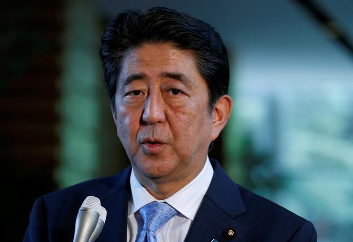 Japan's Prime Minister Shinzo Abe speaks on reports of the launch of a North Korean missile to reporters, at his official residence in Tokyo, Japan May 14, 2017.   REUTERS/Toru Hanai