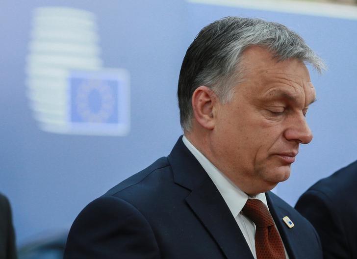 Hungarian Prime Minister Viktor Orban arrives at the EU summit in Brussels, Belgium, April 29, 2017. REUTERS/Olivier Hoslet/Pool
