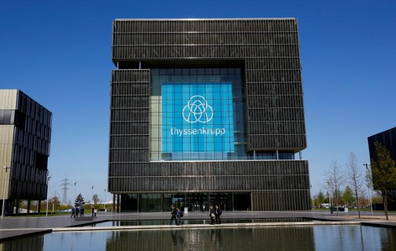 FILE PHOTO: The logo of ThyssenKrupp is seen at the headquarters of the steel maker and multinational conglomerate in Essen, Germany, April 20, 2016.    REUTERS/Wolfgang Rattay/File Photo