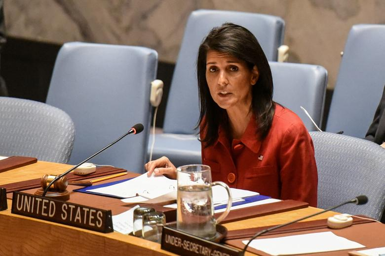 FILE PHOTO - United States Ambassador to the United Nations Nikki Haley delivers remarks at the Security Council meeting at the United Nations Headquarters, in New York, U.S, on April 7, 2017. REUTERS/Stephanie Keith/File Photo