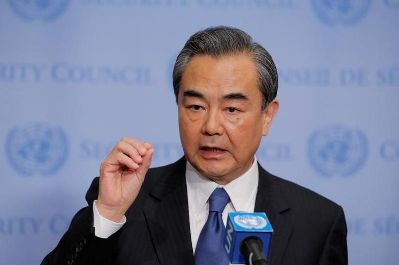 Wang Yi, Chinese Minister for Foreign Affairs, speaks before a meeting of the Security Council inside of United Nations (U.N.) headquarters in New York, U.S., April 28, 2017. REUTERS/Lucas Jackson