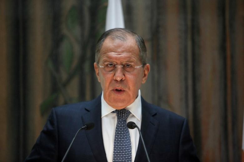 Russian Foreign Minister Sergei Lavrov speaks during a news conference at the Ministry of Foreign Affairs in Nicosia, Cyprus May 18, 2017. REUTERS/Yiannis Kourtoglou
