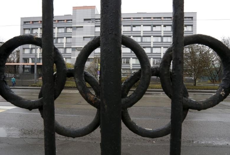 A view through a fence, decorated with the Olympic rings, shows a building of the federal state budgetary institution ''Federal scientific centre of physical culture and sports'', which houses a laboratory accredited by the World Anti-Doping Agency (WADA), in Moscow, Russia on November 11, 2015.   REUTERS/Sergei Karpukhin/File