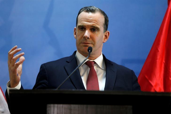 FILE PHOTO: Brett McGurk, U.S. envoy to the coalition against Islamic State, speaks during a news conference at the U.S. Embassy in Amman, Jordan, November 6, 2016. REUTERS/Muhammad Hamed