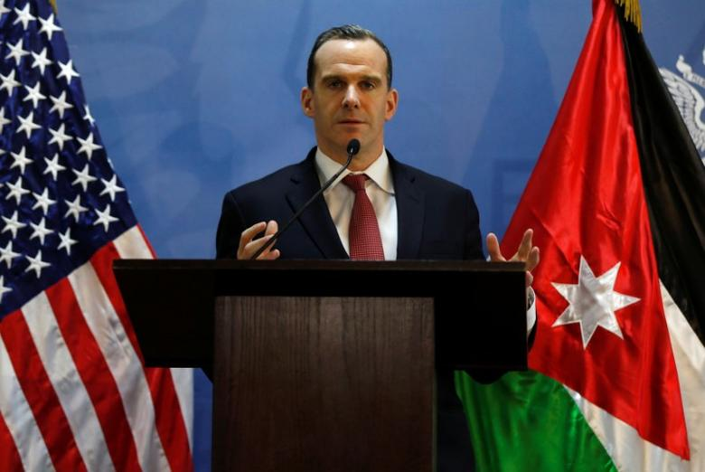 Brett McGurk, U.S. envoy to the coalition against Islamic State, speaks during a news conference at the U.S. Embassy in Amman, Jordan, November 6, 2016. REUTERS/Muhammad Hamed