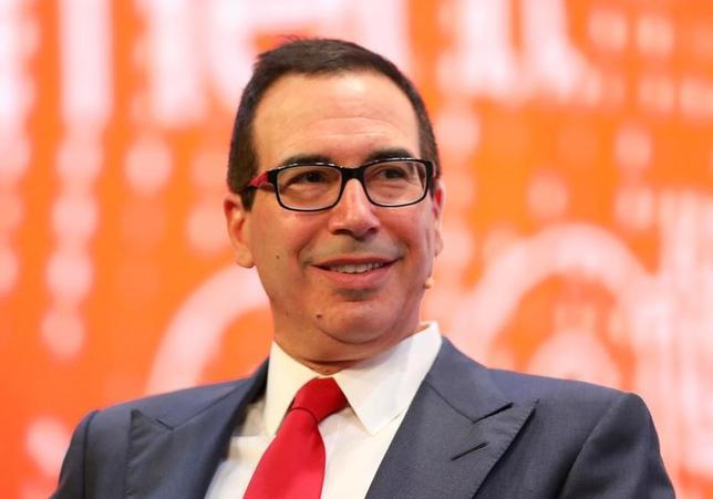 Steve Mnuchin, U.S. Treasury Secretary, speaks during the Milken Institute Global Conference in Beverly Hills, California, U.S., May 1, 2017. REUTERS/Mike Blake