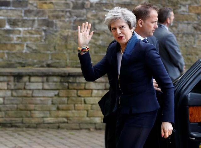Britain's Prime Minister Theresa May's arrives at her election manifesto launch in Halifax, May 18, 2017. REUTERS/Phil Noble