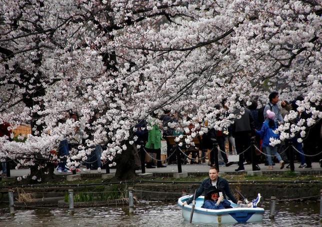5月19日、政府観光局(JNTO)が発表した4月の訪日外国人客数(推計値)は、前年同月比23.9%増の257万9000人だった。単月として過去最高を記録、初めて250万人を超えた。写真は4月、上野恩寵公園で撮影(2017年 ロイター/Kim Kyung-Hoon)