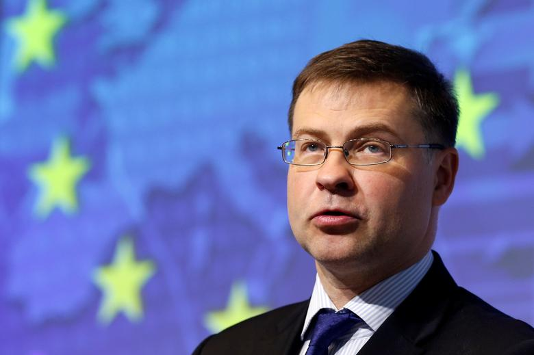 European Commission Vice-President Valdis Dombrovskis speaks about the future of the Banking Union in Brussels, Belgium, May 19, 2017. REUTERS/Francois Lenoir