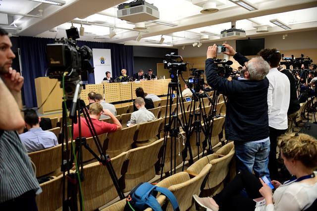 Media attend a press conference held by the Swedish Prosecution Authority in Stockholm, Sweden May 19, 2017. TT News Agency/Maja Suslin via REUTERS