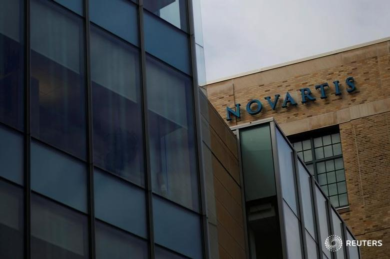 A sign marks a building on Novartis' campus in Cambridge, Massachusetts, U.S., February 28, 2017. Picture taken February 28, 2017. REUTERS/Brian Snyder