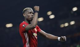 Manchester United's Paul Pogba celebrates after the match.   Reuters / Darren Staples Livepic