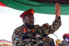 سلفا كير رئيس جنوب السودان يلقي كلمة في جوبا يوم الخميس. صورة لرويترز.