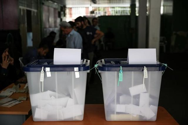Ballot boxes are seen during the presidential election in a Jewish and Christian district in the center of Tehran, Iran, May 19, 2017. TIMA via REUTERS