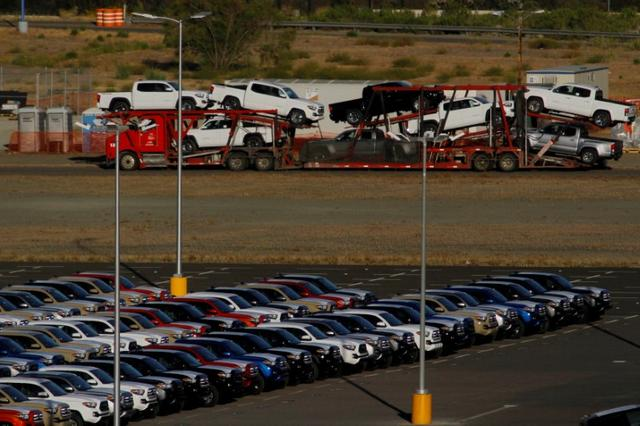 FILE PHOTO - Newly assembled vehicles are seen at a stockyard of the automobile plant Toyota Motor Manufacturing of Baja California in Tijuana, Mexico, April 30, 2017. Picture taken April 30, 2017. REUTERS/Jorge Duenes/File photo