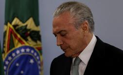 O presidente brasileiro Michel Temer após pronunciamento no Palácio do Planalto, em Brasília 18/05/2017 REUTERS/Ueslei Marcelino