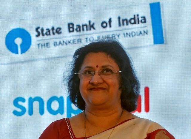 State Bank of India (SBI) Chair Arundhati Bhattacharya smiles during a product launch in Mumbai, January 15, 2016. REUTERS/Shailesh Andrade/Files