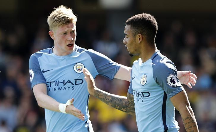 Britain Football Soccer - Watford v Manchester City - Premier League - Vicarage Road - 21/5/17 Manchester City's Gabriel Jesus celebrates scoring their fifth goal with Kevin De Bruyne Reuters / Stefan Wermuth Livepic