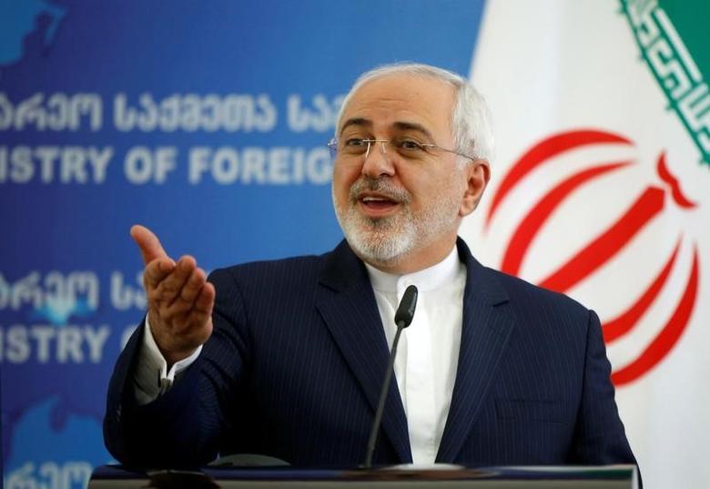 Iranian Foreign Minister Mohammad Javad Zarif speaks to the media in Tbilisi, Georgia, April 18, 2017. REUTERS/David Mdzinarishvili/Files