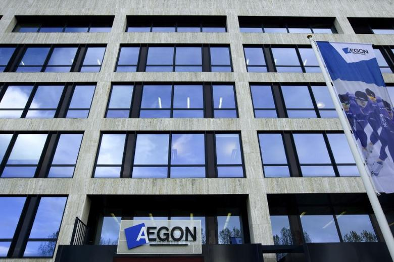 The logo of Dutch financial insurance company Aegon is seen in The Hague October 28, 2008. REUTERS/Stringer
