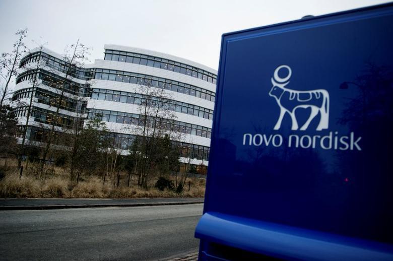 Novo Nordisk logo is seen in Bagsvaerd outside of Copenhagen, Denmark February 1, 2017. Scanpix Denmark/Liselotte Sabroe via REUTERS