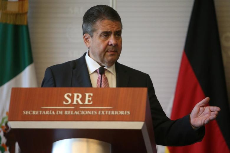German Foreign Minister Sigmar Gabriel address the media after a private meeting in Mexico City, Mexico, May 19, 2017. REUTERS/Edgard Garrido