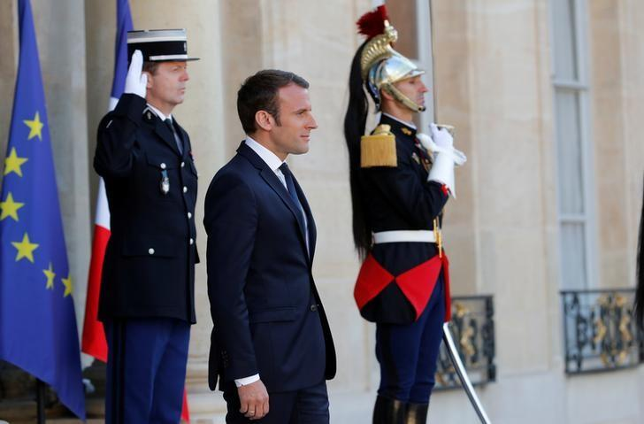French President Emmanuel Macron attends a meeting at the Elysee Palace in Paris, France May 21, 2017. REUTERS/Philippe Wojazer