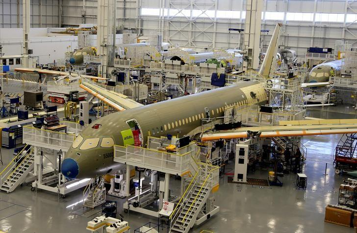 FILE PHOTO: Bombardier's C Series aircrafts are assembled in their plant in Mirabel, Quebec, Canada April 29, 2016.  REUTERS/Christinne Muschi/File Photo