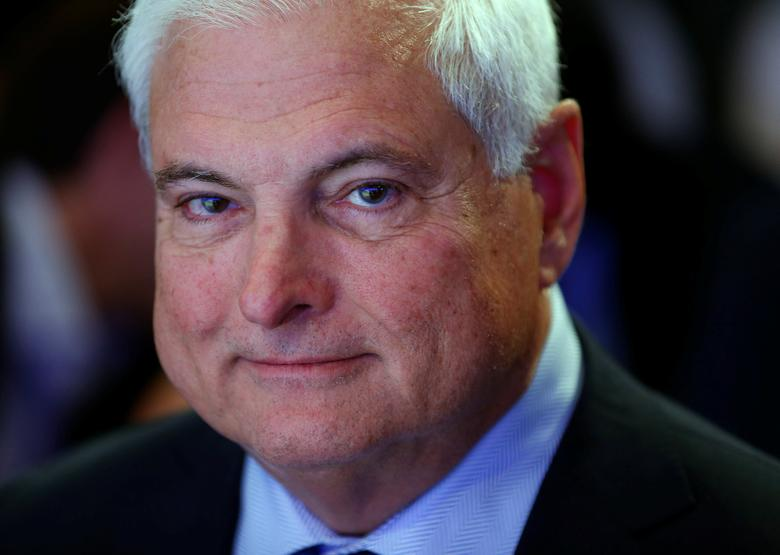 FILE PHOTO - Ricardo Martinelli, President of Panama smiles during a session at the annual meeting of the World Economic Forum (WEF) in Davos January 23, 2014.   REUTERS/Denis Balibouse/File Photo