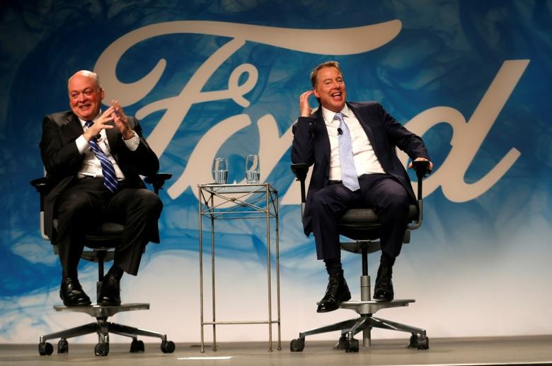Ford Motor Executive Chairman Bill Ford (R) and James Hackett answer questions from the media after announcing Hackett was named as Ford Motor Company president and CEO, succeeding Mark Fields, in Dearborn, Michigan, U.S., May 22, 2017.   REUTERS/Rebecca Cook