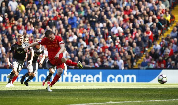 Britain Soccer Football - Liverpool v Southampton - Premier League - Anfield - 7/5/17 Liverpool's James Milner has his penalty saved Reuters / Phil Noble/ Livepic/ Files