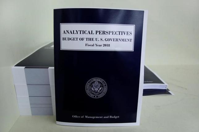 5月22日、トランプ米政権が23日に議会に提出する2018年度(17年10月─18年9月)予算教書は、架空の想定に基づく呪術(ブードゥー)経済政策だ。写真は予算教書の「分析的展望」。ワシントンで19日撮影(2017年 ロイター/Yuri Gripas)