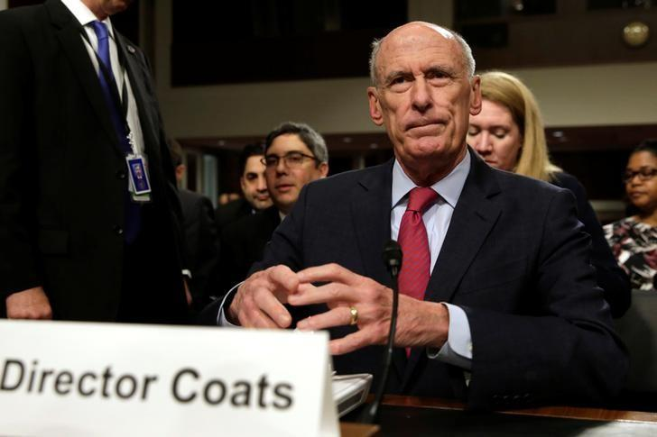 Director of National Intelligence Dan Coats arrives to testify before the Senate Armed Services Committee on worldwide threats, on Capitol Hill in Washington, U.S., May 23, 2017. REUTERS/Yuri Gripas