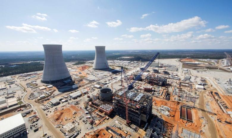 FILE PHOTO: The Vogtle Unit 3 and 4 site, being constructed by primary contactor Westinghouse, a business unit of Toshiba, near Waynesboro, Georgia, U.S. is seen in an aerial photo taken February 2017.  Georgia Power/Handout via REUTERS