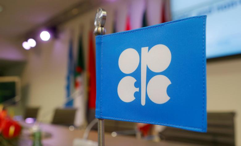FILE PHOTO: A flag with the Organization of the Petroleum Exporting Countries (OPEC) logo is seen before a news conference at OPEC's headquarters in Vienna, Austria, December 10, 2016.   REUTERS/Heinz-Peter Bader/File Photo