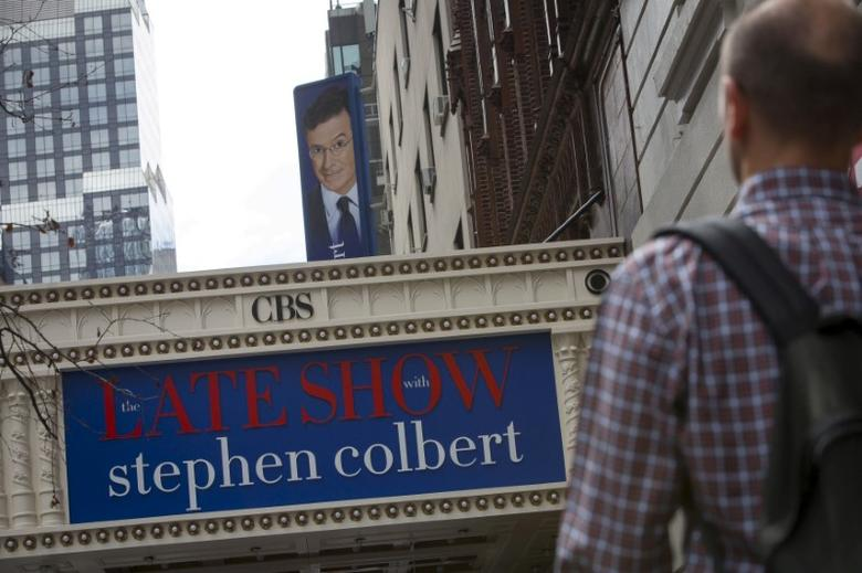 FILE PHOTO: The marquee for ''The Late Show with Stephen Colbert'' is seen on the Ed Sullivan Theater in Manhattan, New York, U.S., August 21, 2015.  REUTERS/Andrew Kelly/File Photo