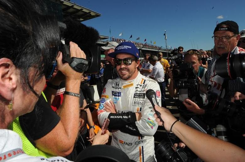 May 21, 2017; Indianapolis, IN, USA; Fernando Alonso waits to see if his qualification run is good enough for the pole during qualifying for the 101st Running of the Indianapolis 500 at Indianapolis Motor Speedway. Mandatory Credit: Thomas J. Russo-USA TODAY Sports