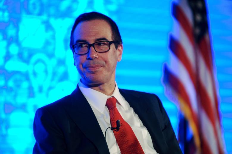 FILE PHOTO - Treasury Secretary Steven Mnuchin addresses Chamber of Commerce ''Invest in America!'' summit in Washington U.S., May 18, 2017. REUTERS/Mary F. Calvert