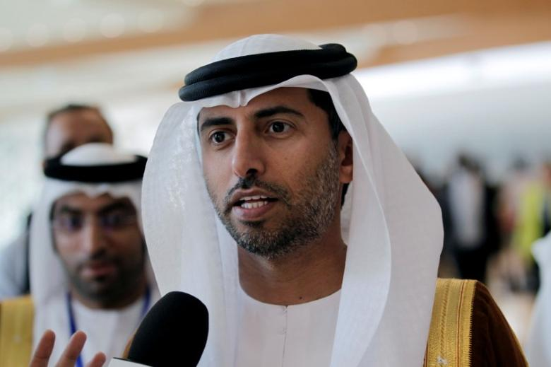 FILE PHOTO: UAE Energy Minister Suhail bin Mohammed al-Mazroui talks to reporters during the 15th International Energy Forum Ministerial (IEF15) in Algiers, Algeria September 28, 2016. REUTERS/Ramzi Boudina