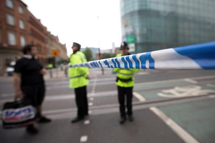 A police cordon blocks a street near the Manchester Arena in Manchester, Britain May 24, 2017. REUTERS/Jon Super