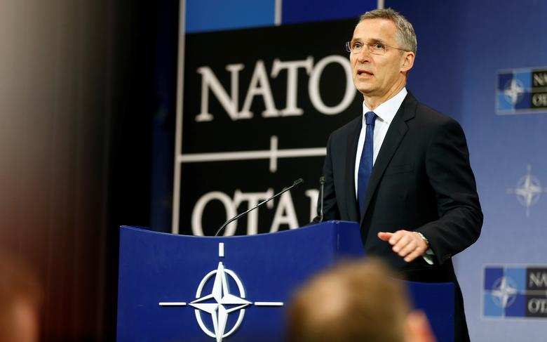 NATO Secretary General Jens Stoltenberg addresses a news conference ahead of leaders' meeting in Brussels, Belgium May 24, 2017. REUTERS/Hannibal Hanschke