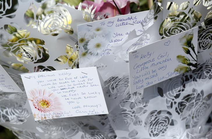 Britain Boxing - Kell Brook & Errol Spence Public Work-Outs - Peace Gardens, Sheffield - 24/5/17 Tributes left outside Sheffield Town Hall in memory of Kelly Brewster who died Manchester Arena terror attack Action Images via Reuters / Carl Recine Livepic