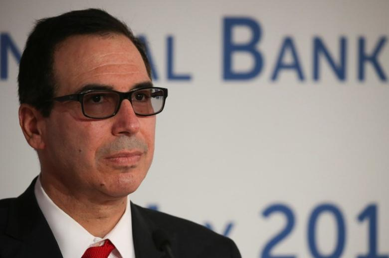 FILE PHOTO: U.S. Secretary of the Treasury Steven Mnuchin attends a news conference during a G7 for Financial ministers, in the southern Italian city of Bari, Italy May 13, 2017. REUTERS/Alessandro Bianchi