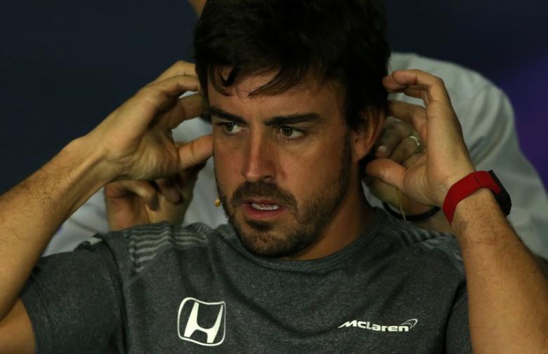 Formula One - F1 - Spanish Grand Prix - Barcelona-Catalunya racetrack, Montmelo Spain - 11/05/17 - McLaren's Fernando Alonso attends a news conference. REUTERS/Albert Gea
