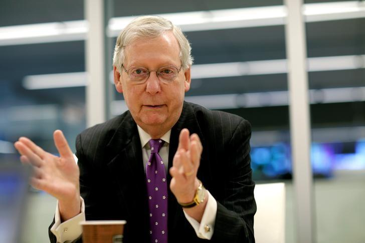 Senate Majority Leader Mitch McConnell (R-KY) speaks to Reuters during an interview in Washington, U.S., May 24, 2017.   REUTERS/Joshua Roberts