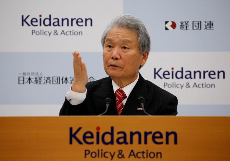 FILE PHOTO: Chairman of Japan Business Federation (Keidanren) Sadayuki Sakakibara attends a news conference in Tokyo, Japan, January 23, 2017.    REUTERS/Toru Hanai