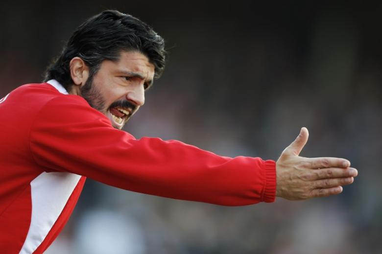 File Photo: FC Sion's coach and player Gennaro Gattuso reacts during his team's Swiss Super League soccer match against FC Lausanne-Sport in Sion March 10, 2013. REUTERS/Valentin Flauraud
