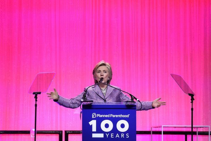 Former U.S. Secretary of State Hillary Clinton speaks during the Planned Parenthood 100 Years Gala in New York,U.S., May 2, 2017. REUTERS/Shannon Stapleton